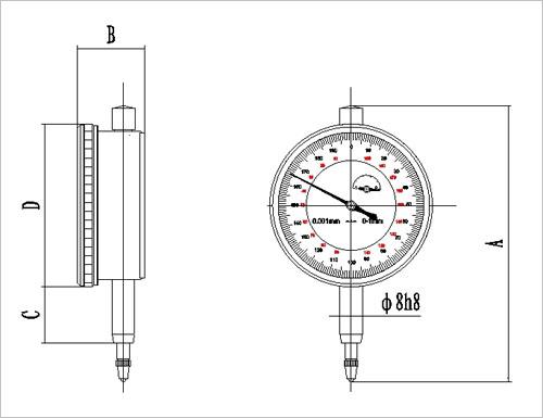 0-5mm(常用1mm)机械千分表:0